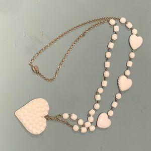 Tarina Tarantino Long White Heart Necklace